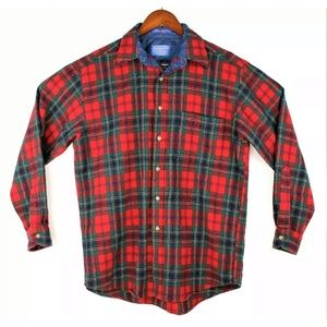 Pendleton Plaid Flannel Shirt Virgin Wool Red